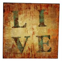 Square Glazed Wooden Logo Wall Art - LIVE